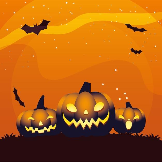 Conception de dessins animés de trois citrouilles orange halloween, thème de vacances et effrayant
