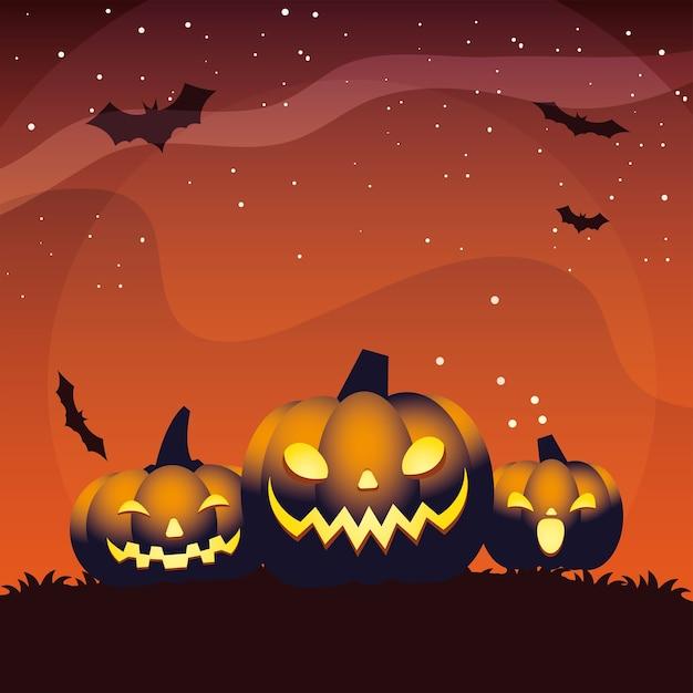 Conception de dessins animés de trois citrouilles orange halloween
