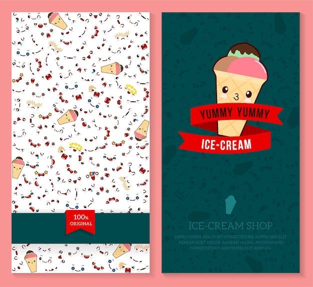 Conception de deux billets amusants avec motif d'émotion kawaii et crème glacée sucrée