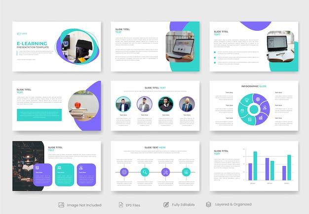 Conception de diapositives de présentation d'éducation ou d'apprentissage en ligne