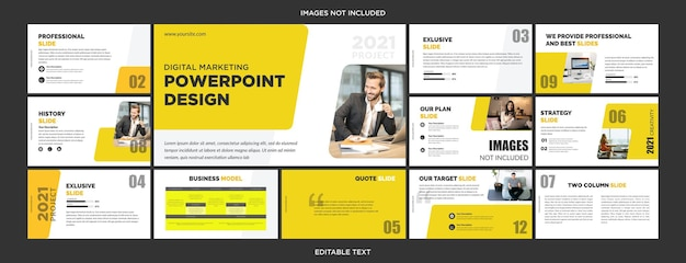 Conception de diapositives de présentation polyvalentes jaune