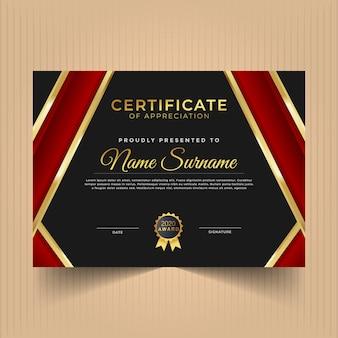 Conception de diplôme de certificat pour les réalisations avec des lignes or et rouges