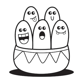 Conception de doodle coloriage illustration de monstres de dessin animé