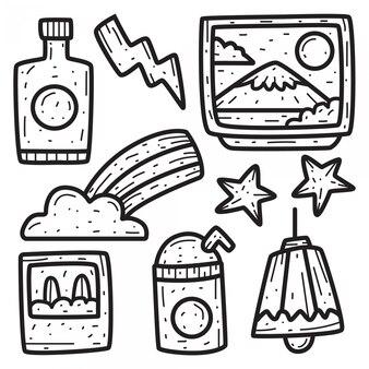 Conception de doodle dessin animé abstrait dessiné à la main