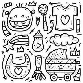 Conception de doodle de dessin animé bébé mignon dessiné à la main