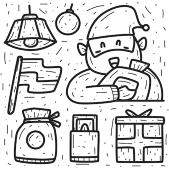 Conception de doodle de dessin animé dessiné à la main de noël