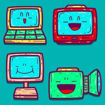 Conception de doodle de dessin animé électronique dessiné à la main
