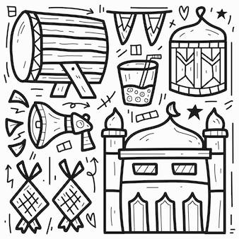 Conception de doodle de dessin animé mignon ramadan dessiné à la main
