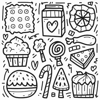 Conception de doodle de dessin animé de nourriture kawaii dessiné à la main
