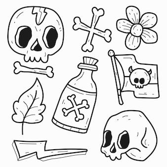 Conception de doodle de dessin animé de tatouage de crâne dessiné à la main