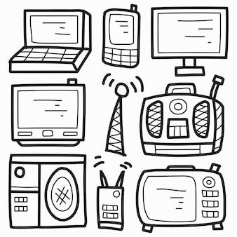Conception de doodle électronique de dessin animé dessiné à la main