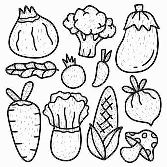 Conception de doodle de légumes de dessin animé dessiné à la main