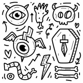 Conception de doodle de monstre de dessin animé dessiné à la main