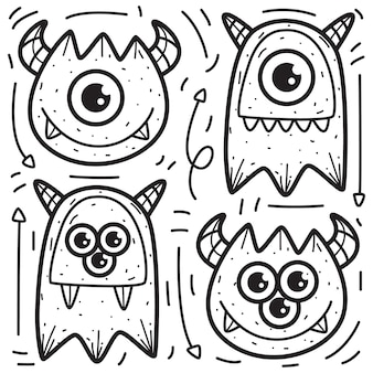Conception de doodle monstres à colorier
