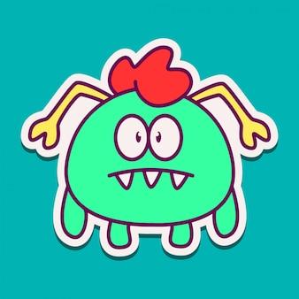 Conception de doodle de personnage de dessin animé de monstre