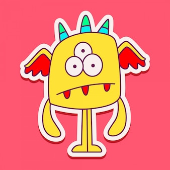 Conception de doodle de personnage de monstre mignon