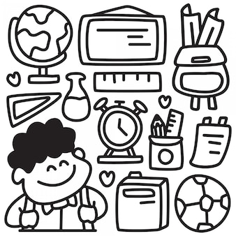 Conception de doodle retour à l'école