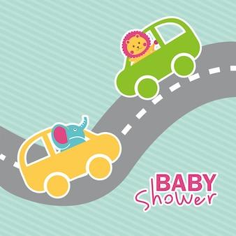 Conception de douche de bébé au cours de l'illustration vectorielle fond bleu