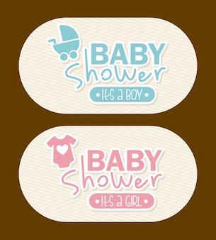 Conception de douche de bébé au cours de l'illustration vectorielle fond marron