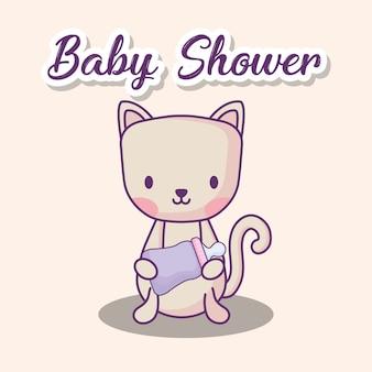 Conception de douche de bébé avec chat mignon