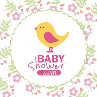 Conception de douche de bébé sur fond floral