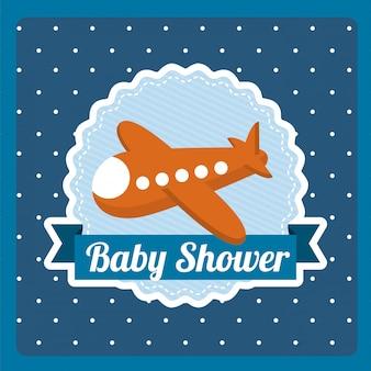 Conception de douche de bébé sur fond pointillé