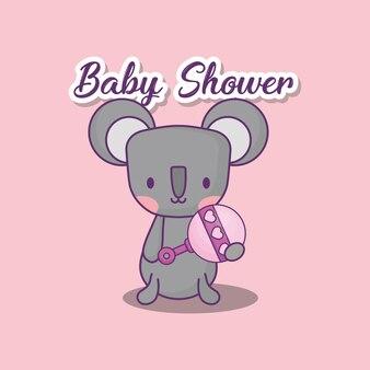 Conception de douche de bébé avec l'icône de koala mignon