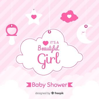 Conception de douche de bébé rose pour fille