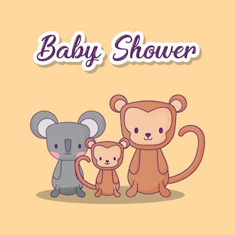 Conception de douche de bébé avec des singes mignons et koala