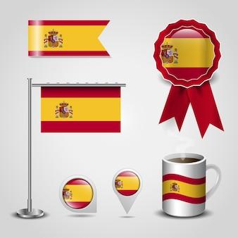 Conception de drapeau espagne avec éléments set vector