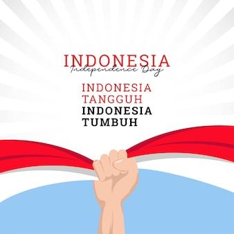 Conception de drapeau indonésien ondulé pour la fête de l'indépendance modèle de bannières de la fête de l'indépendance de l'indonésie