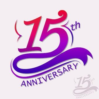 Conception du 15e anniversaire, signe de célébration du modèle. vecteur