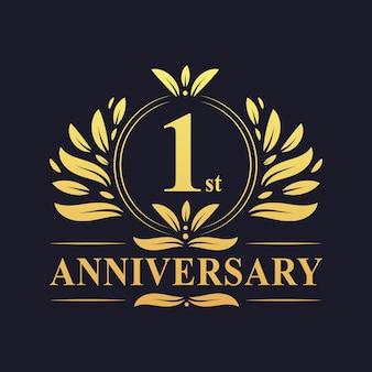 Conception du 1er anniversaire, couleur dorée luxueuse célébration de la conception du logo anniversaire de 1 an.