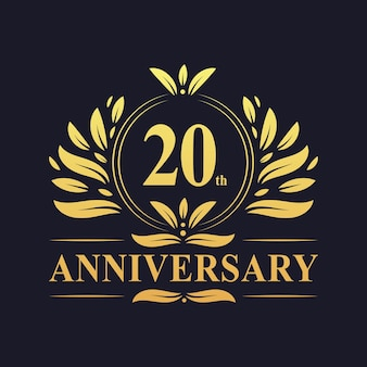 Conception du 20e anniversaire, couleur dorée luxueuse célébration de la conception du logo de l'anniversaire des 20 ans.