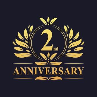 Conception du 2e anniversaire, couleur dorée luxueuse célébration de la conception du logo anniversaire de 2 ans.
