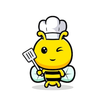 Conception du chef mignon d'abeille de miel.