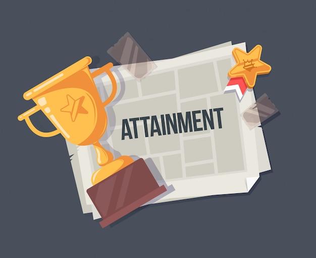 Conception du concept de réalisation. illustration de la réalisation avec la coupe gagnante et le journal.