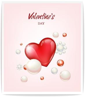 La conception du concept de la saint-valentin contient des coeurs en verre et des perles rondes. illustration vectorielle pour bannière ou carte de voeux