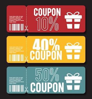 Conception du coupon icône de vente. concept commercial