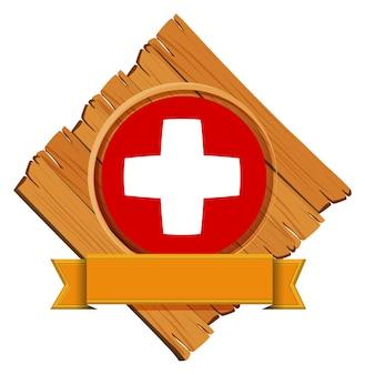Conception du drapeau suisse sur badge rond avec bannière