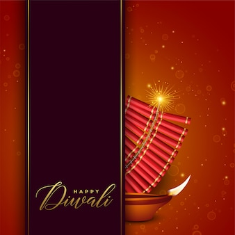 Conception du festival de diwali avec cracker et diya