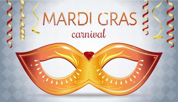 Conception du festival mardi gras. masque de carnaval doré avec pierres précieuses