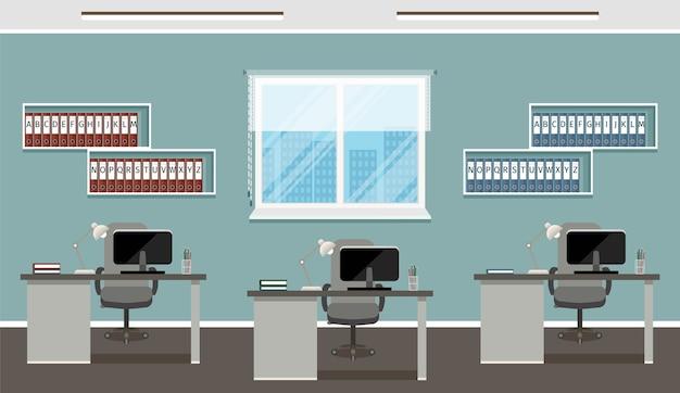 Conception du lieu de travail avec trois postes de travail et mobilier de bureau.