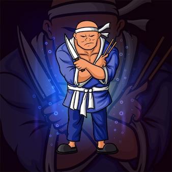 La conception du logo esport du chef japonais de l'illustration