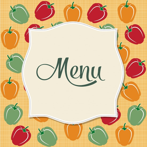 Conception du menu du restaurant avec poivrons sucrés