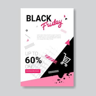 Conception du modèle de flyer du vendredi noir pour dépliant, prospectus, brochure, document distribué ou dépliant