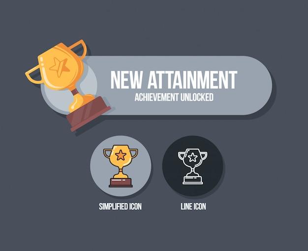 Conception du panneau de réalisation. réalisation icône concept avec la coupe gagnante.