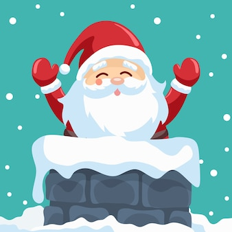 Conception Du Père Noël Dans La Cheminée La Nuit De Noël Vecteur Premium