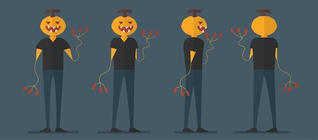 Conception du personnage de citrouille pour le jour de l'halloween, le 31 octobre.