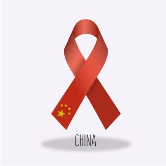 Conception du ruban du drapeau chinois